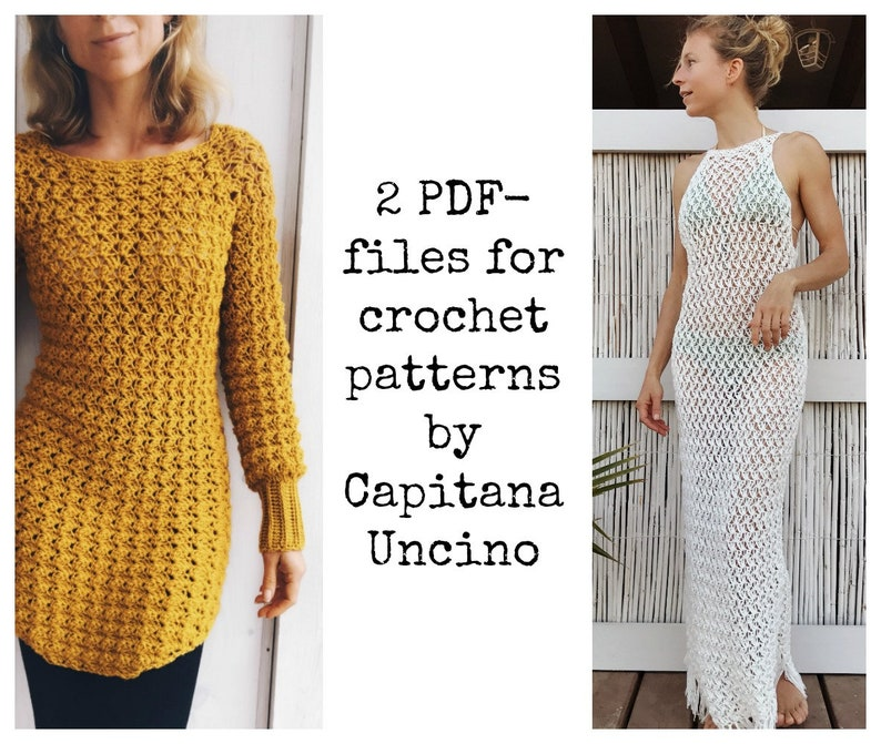 Beach Cover up 2 files fringes top 4 different Sizes: xs-xl PDF-files of Crochet PATTERNS for Both Minerva Crochet Tunic and Dress Top