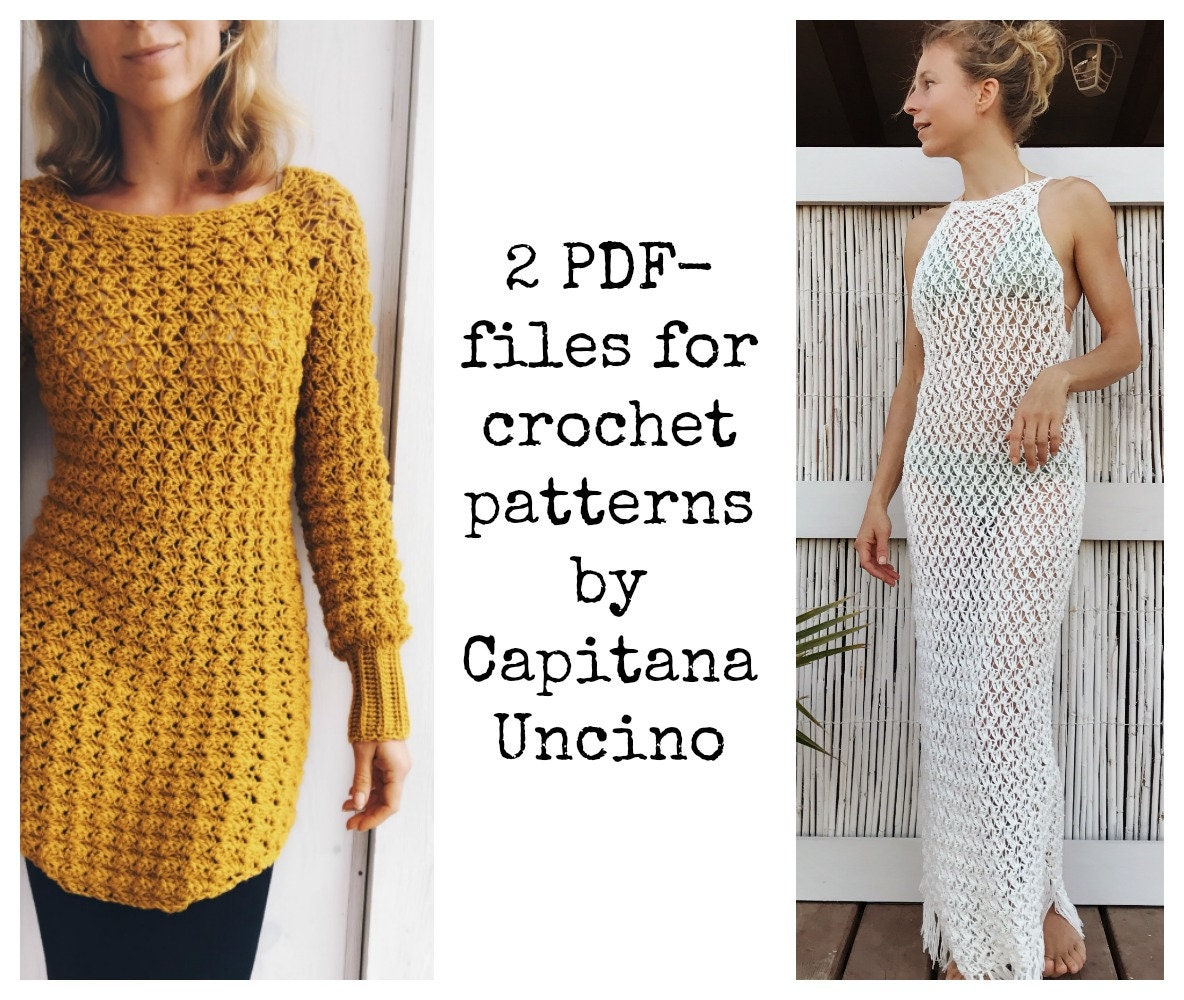 Pdf Files Of Crochet Patterns For Both Minerva Crochet Tunic And Dress Top 2 Files 4 Different Sizes Xs Xl Beach Cover Up Top Fringes
