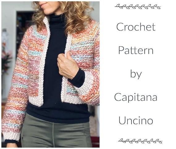 PDF-file for Crochet PATTERN, Naava Jacket with ribbings, sizes XS-xxL, 6 sizes