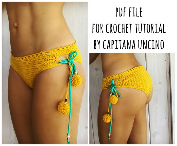 PDF-file for Crochet PATTERN, Sunflower Crochet Bikini Bottom, Sizes XS,S,M,L, Cheeky