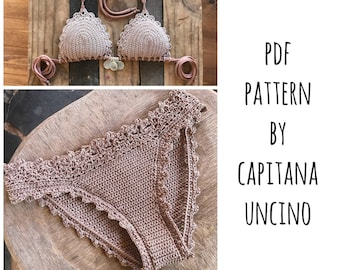 PDF, Crochet PATTERN for Lorelei Crochet Bikini Top and Basic Bottom with more coverage, Sizes XS-L, with 2 edging options