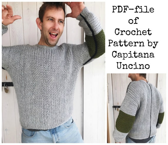 Pdf-file for Crochet PATTERN for Tell me a story Sweater for Men