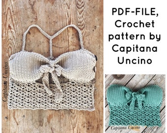PDF-file for Crochet PATTERN, Minnie cropped Crochet Top Sizes XS-xL