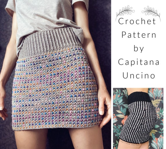 PDF-file for Crochet PATTERN, Crochet Lady Midnight Highwaist Skirt, Sizes XS, S, M, L, xL,-xxL