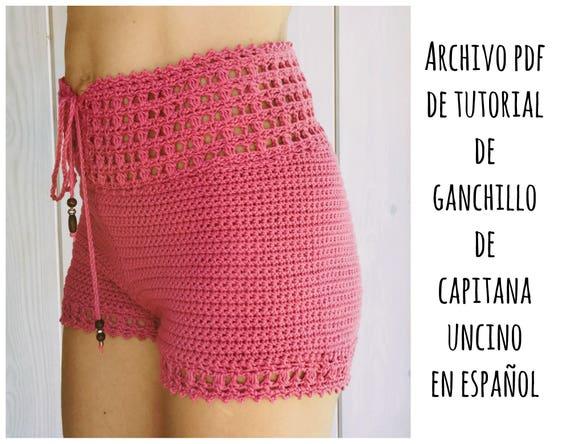 PDF PATRON de Ganchillo para Leyla Pantalones cortos con cintura alta, tallas XS,S,M,L, en español