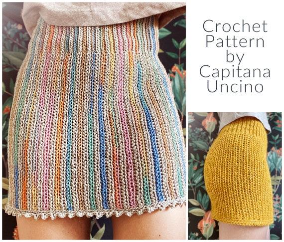 PDF-file for Crochet PATTERN, Kielo Highwaist Skirt, Sizes XS, S, M, L, xL,-xxL, Instructions for 2 different yarn weights