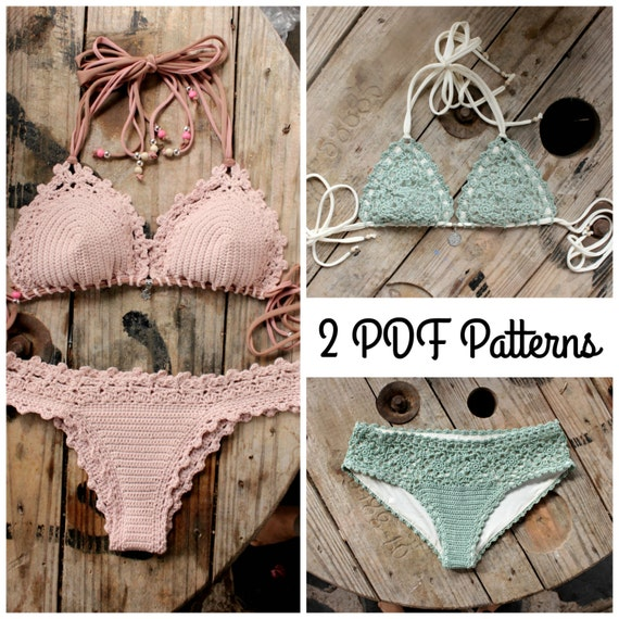 2 PDF, Crochet PATTERNS, Lorelei Bikini Pattern and Doris Lingerie Bikini Pattern, Sizes XS-L
