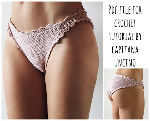 PDF-file for Crochet PATTERN, Liliana Cheeky Bottom, Sizes XS-xL, bikini, brazilian