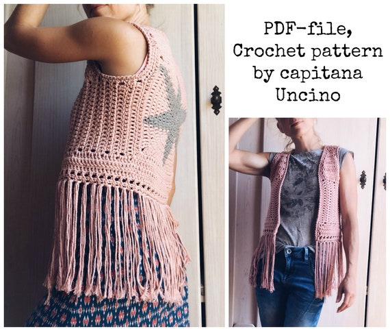 PDF-file for Crochet PATTERN, Star Vest, 4 Sizes