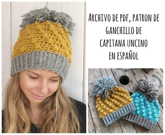 PDF PATRON de Ganchillo, Gorro de Piña, tallas S, M, L, en español