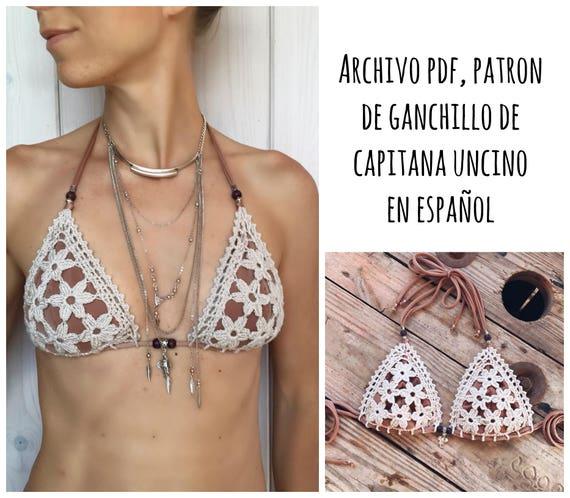 PDF PATRON de Ganchillo, Coralia Bikini, Parte de Arriba, 3 tallas, XS,S/M,L, en español, Bikini