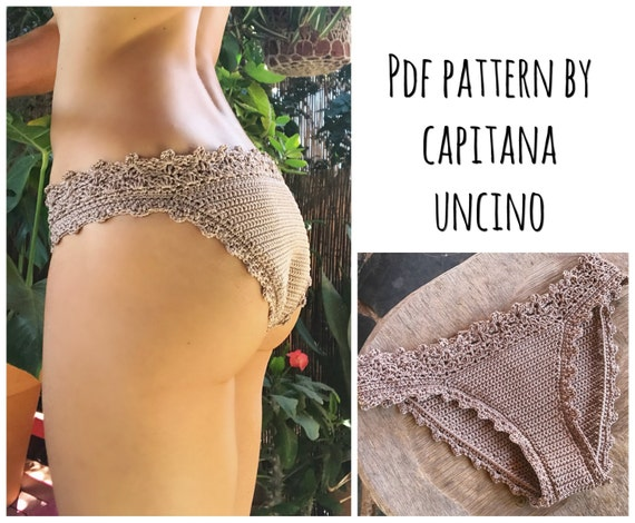 PDF-file for Crochet PATTERN, Lorelei Crochet Bikini Bottom, Basic, cheeky, Sizes XS-L, 2 edging options for the waist