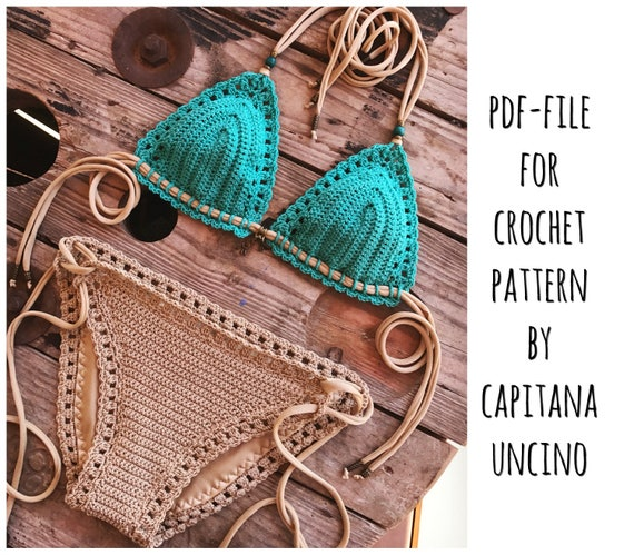 PDF-file for Crochet PATTERN, Serafina Crochet Bikini Top and Bottom, Basic Bottom with more coverage, Sizes XS-L