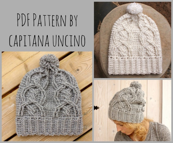 PDF Crochet  PATTERN for Alisha Cable Beanie, Slouchy, with Pompom