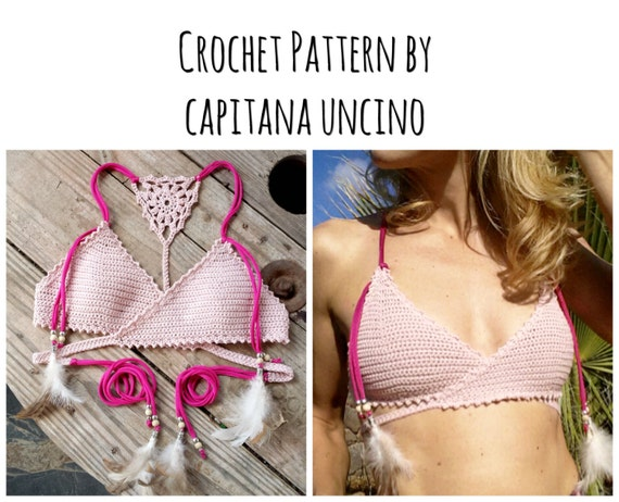 PDF-file for Crochet PATTERN, Aliyah Crochet Bikini Top Sizes XS-L, surfer bikini, top