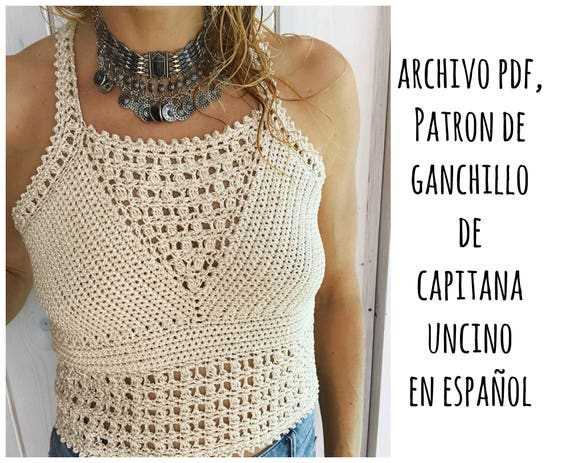PDF PATRON de Ganchillo para Leyla top, tallas XS,S,M,L, en español,