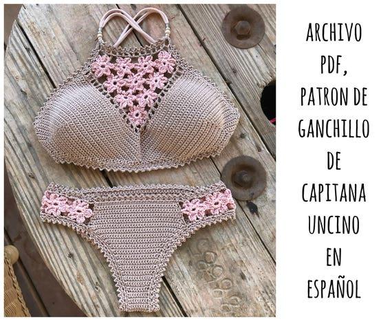 PDF PATRON de Ganchillo, Coralia Brazilian Bikini, 2 partes, tallas XS,S,M,L, en español, parte de arriba, parte de abajo brazileño