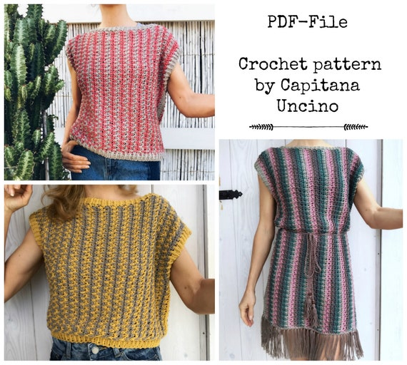 PDF-file for Crochet PATTERN Philomena Crochet Top, Tee, Cropped Top, Dress, Sizes XS,S,M,L,xL