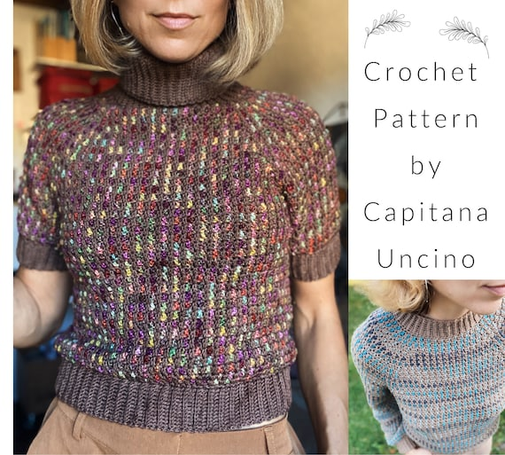 PDF-file for Crochet PATTERN, Kaamos Crochet Sweater, cropped, Long or short sleeves, turtle neck or narrow collar, sizes XS-xL, 6 sizes