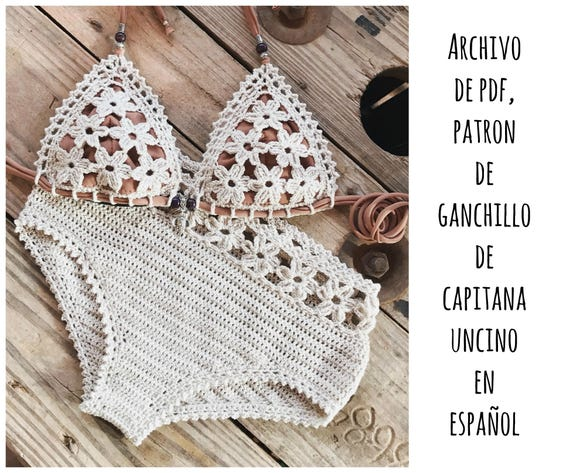 PDF PATRON de Ganchillo, Coralia Bikini de las flores, 2 partes, tallas XS,S,M,L, en español, parte de arriba y parte de abajo