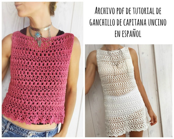 PDF PATRON de Ganchillo para Alfreda top, tallas XS,S,M,L, en español