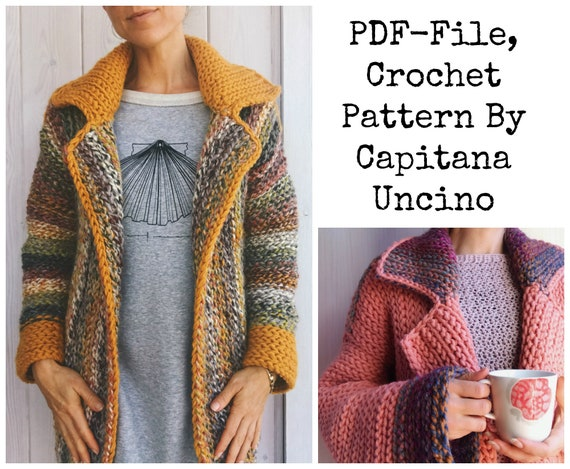 Pdf-file for Crochet PATTERN, Wandering Jane Jacket, 5 different Sizes: XS-XL, Blazer