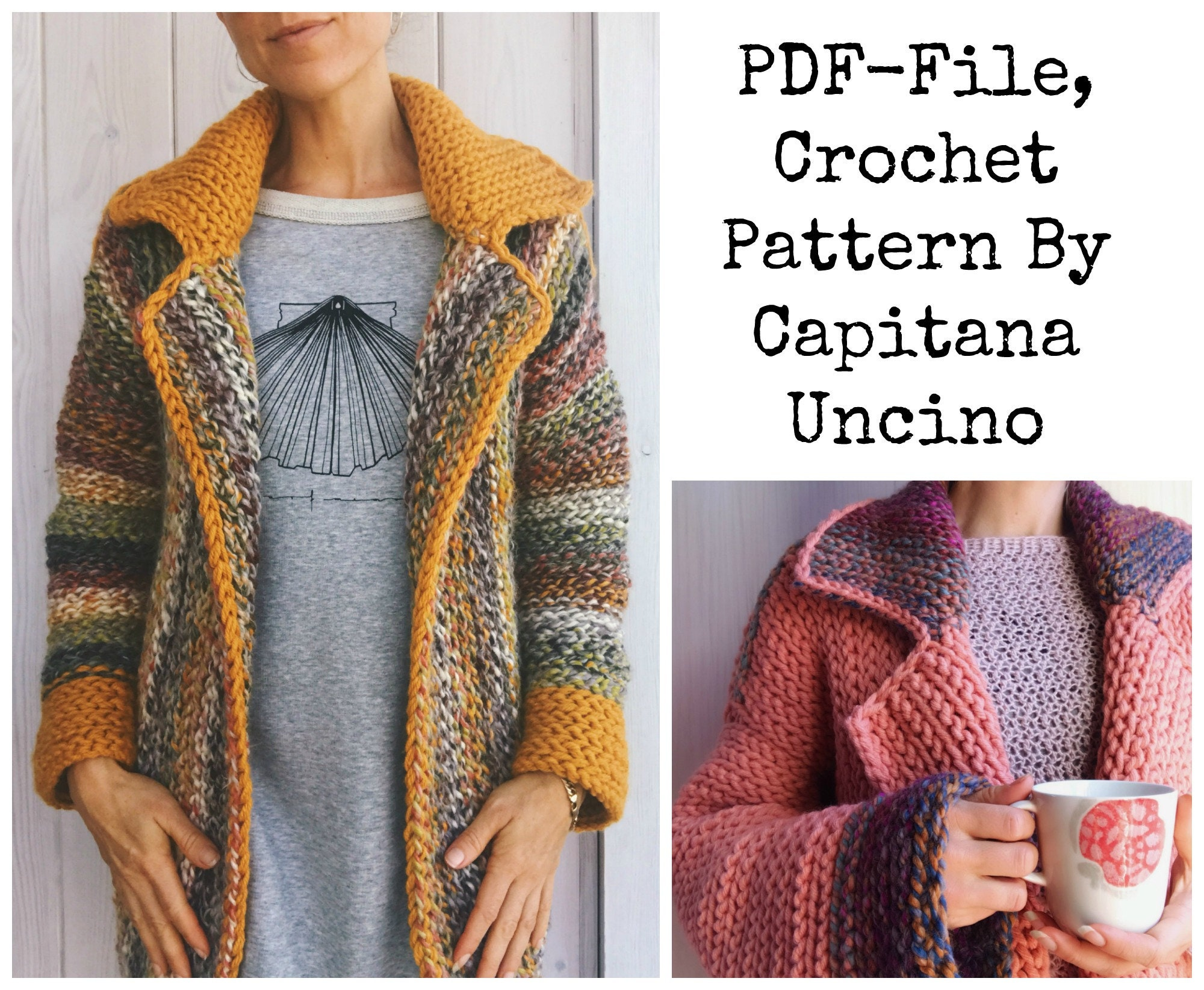 Pdf File For Crochet Pattern Wandering Jane Jacket 5 Different Sizes