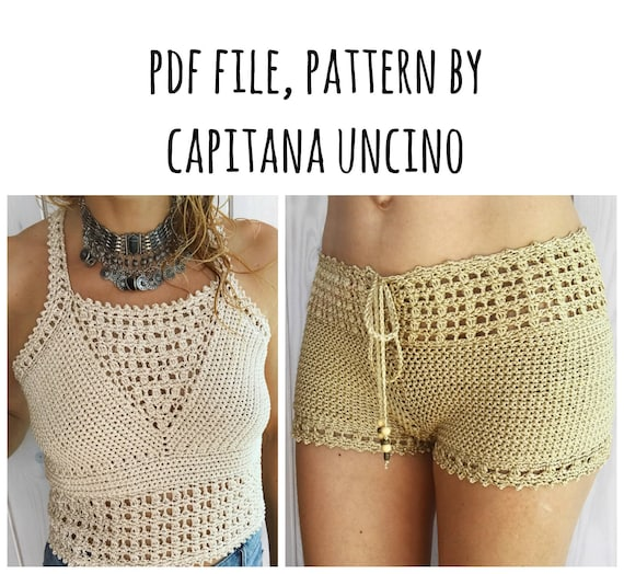 PDF-file for Crochet PATTERN set for Leyla Crochet Top and highwaist Shorts, Sizes XS-L, Cropped top