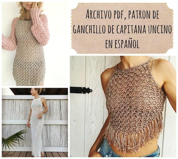 Pdf patron de ganchillo para Minerva tunica, vestido, top, tallas XS/S, M/L,XL/XXL en español,
