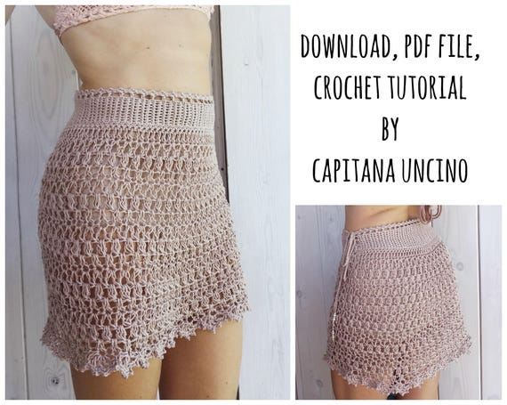 PDF-file for Crochet PATTERN, Alfreda Skirt, 4 different Sizes: XS, S, M, L, 2 different option for waist, adjustable length