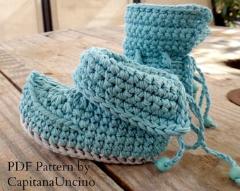 Crochet PATTERN Crochet Baby Booties, Lappish Booties, Fairy, Pixie, Elf Booties 0-6 and 6-12 months