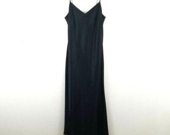 a23376c6620 Evan Picone 90s Long Black Satin Evening Dress 4 Petite