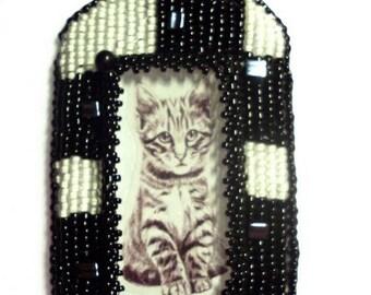 Kitty cat love checkboard pendant OOAK