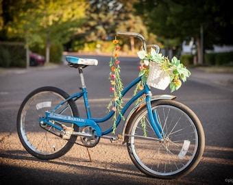 Handlebar streamers, red and orange bicycle streamers, flower bike accessory