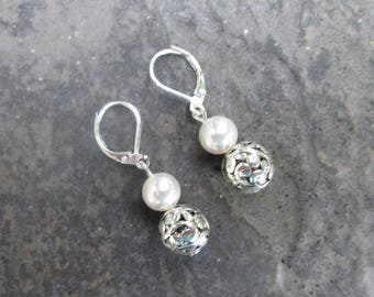 Swarovski Pearl and Silver Filigree Ball earrings with Sterling Silver Leverbacks Filigree Dangle earrings Pearl earrings