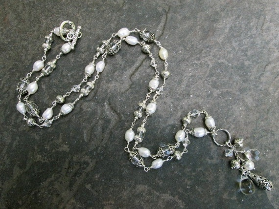 """Silver Beads and Pearls Y Pendant Necklace 16/"""" Long with 2/"""" Extension"""