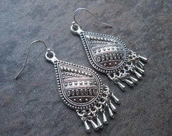 Silver Filigree chandelier earrings with sterling silver earwires and teardrop shape Boho dangle earrings Gift for Her FREE SHIPPING