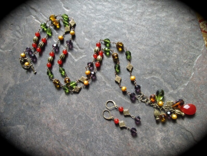 Extra Long Beaded Necklace and Earrings set Rosary Style Carnelian Pearls and Czech glass beads  Antique Bronze Fall colors 36 necklace