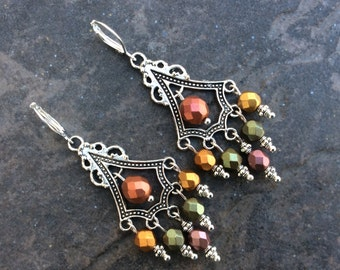 Olive Green Chandelier Earrings in metallic Fall and Holiday colors with Sterling Silver leverbacks