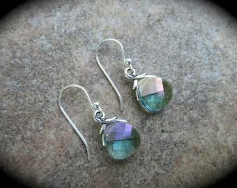 SALE Swarovski Aquamarine Champagne Briolette earrings Sterling Silver Earrings  Wedding Jewelry Prom Jewelry