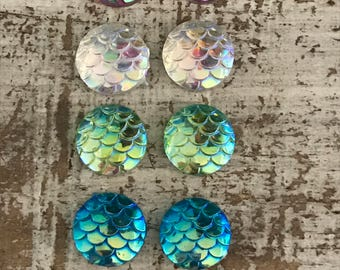 Mermaid Scale  12mm Cabochons