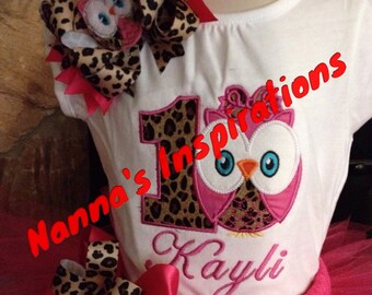 Owl Birthday shirt/Bow