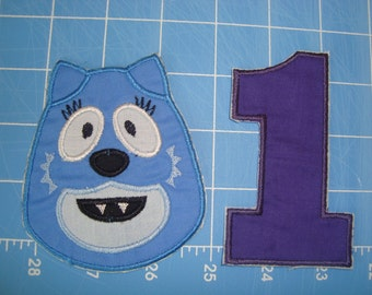 Gabba Iron on Toodee Applique with number Birthday