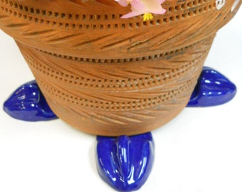 "Ceramic Pot Feet (set of 4) / Handmade Ceramic ""Birdfoot"" Pot Risers / Planter Feet / Cobalt Royal Blue Glazed Tiles"