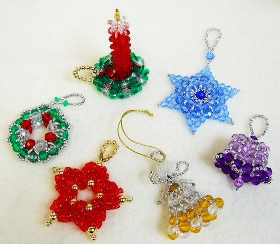 Beaded Christmas Ornaments.Patterns Only Beaded Christmas Ornaments Classic Holiday Designs Set Of 6