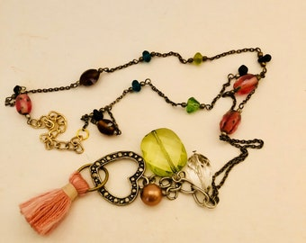 Pastel Spring Beaded Chain and Charm Necklace with Heart and Tassel.