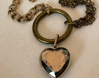 Repurposed Large Heart  Chain Metal Circle Assemblage Necklace.
