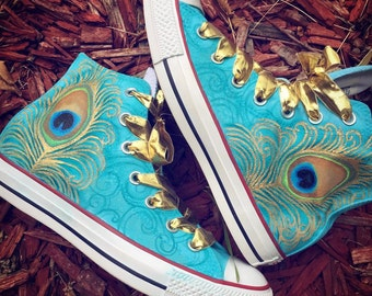 bae5cd75c134 Peacock Converse - Custom Airbrush on Authentic Converse Sneakers