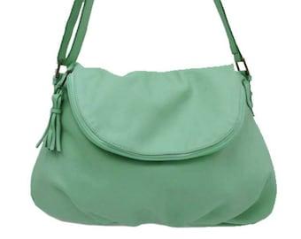 Leather Cross body Mint Flap Bag Handmade, hidden pocket in flap, Interior pockets