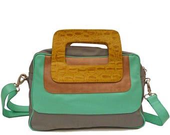 Leather Crossbody travel bag, messenger, yellow, mint, grey Laptop bag, hobo, purse. Also on mint, rose, purple